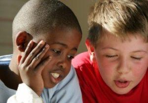 friends talking - two boys in conversation