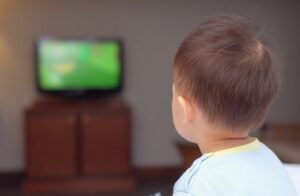 toddler watching television