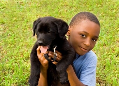 affectionate young boy holding puppy